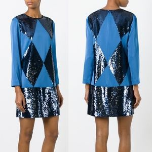 NWT Tory Burch Lantilly blue sequin dress Sz 0 NEW